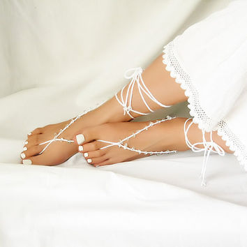 White String Beaded Barefoot Sandals with Crystal Clear Irragular Beads - Crochet Beach Sandles - Wedding Anklet Jewelry - Nude Shoes