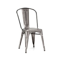 Dreux Gunmetal Steel Stackable Side Chair (Set of 2)