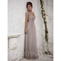 Christina Wu 22709 Off the Shoulder Tulle Floor Length Bridesmaid Dress