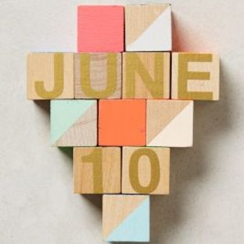 Month & Day Woodblock Calendar by Anthropologie Multi One Size House & Home