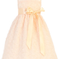 Peach Chiffon Ribbon Flower Dress with Satin Sash (Girls 2T - Size 10)