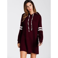 Varsity Striped Hoodie Dress Burgundy