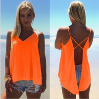 Hot Summer Stylish Comfortable Bralette Women's Fashion Beach Spaghetti Strap Chiffon Sexy Plus Size Split Vest [4966096324]