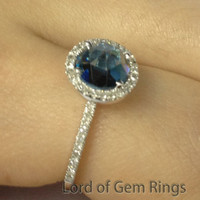 OEC Round London Blue Topaz Engagement Ring Pave Diamond Wedding 14K White Gold 7mm