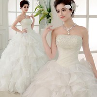 Fashion Wedding Dresses Bride Bandage Drill Lace Princess Dress Wrapped Chest new Ball Gown 2017 Wedding Dresses