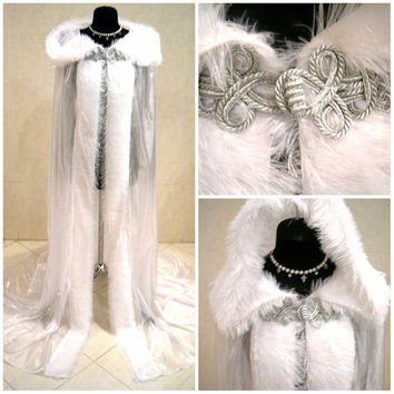 FUR medieval cloak white cape wedding dress costume snow ice queen Narnia witch Christmas x-mas renaissance tudor larp wicca ELSA elven LOTR