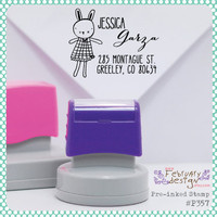 Bunny Girl Self Inking Address Stamp. Address Stamp, Teacher Stamp,  This Book Belongs To Stamp, Handmade by Stamp (P357) Free Proof