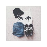 Palm tree crop top tank - Brandy Melville/Pacsun inspired