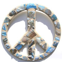 Blue Shell Mosaic Peace Sign / Peace Sign Wall Art /  Beach Decor / Shell Decor / Coastal Living / Hippie Decor / Beach House / Woodstock