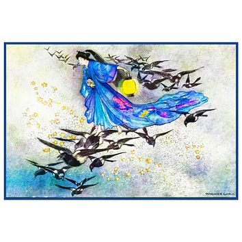 The Star Lovers by Warwick Goble Counted Cross Stitch Chart Pattern