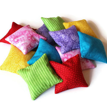 Double Rainbow Bean Bags (set of 12) Yellow Green Blue Purple Pink Red Orange White Brown Black Toss Game Child's Toy - US Shipping Included