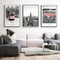 Vintage Pink New York City Building Landscape Canvas Paintings Poster and Print Wall Art Pictures Living Room Home Office Decor