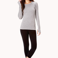 FOREVER 21 Cutout Running Top Heather Grey