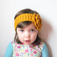 Crochet Toddler Girls Headband in Mustard with Large Rose, wool blend, ready to ship.