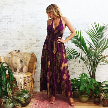 Vintage INDIAN Cotton Purple Bohemian Hippie Halter Backless Maxi Tribal Dress || Size Small Medium