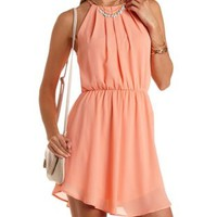 Apricot Curved Hem Chiffon Halter Dress by Charlotte Russe