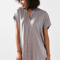 Silence + Noise Satin Mini Shirt Dress - Urban Outfitters