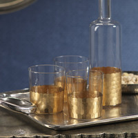 Barclay Butera Montecito Fez Cut Glass Tumblers with Gold Leaf (Set of 6)