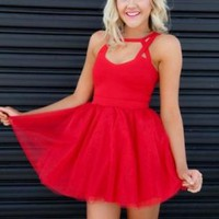 Red Cutout Bodice Dress with Tulle Layered Skirt