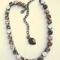 swarovski crystal necklace, tennis necklace, warm toned, brown, topaz, gold, opal in an antique brass setting