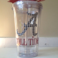 """Alabama Roll Tide Themed Double Wall Tumbler with Houndstooth Print """"A"""""""