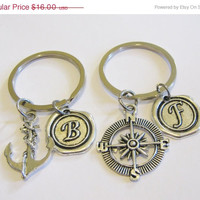 Summer Sale Save15% 2 Compass And Anchor  Wax Seal Initial Keychains Best Friends Sisters Couples