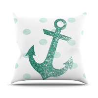 "Nika Martinez ""Glitter Anchor in Mint"" Teal Throw Pillow"