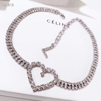 New Arrival CELINE Luxury Necklace With Full Love Diamonds And Extender Chain