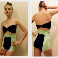High Waist Color Block Swim Suit with Bandeau Top by temerson1