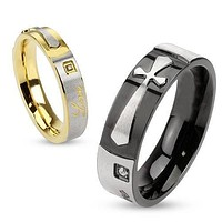 Faith in Love - FINAL SALE Round Cut Cubic Zirconia Set in Black and Gold IP Engraved His and Hers Stainless Steel Cross Ring