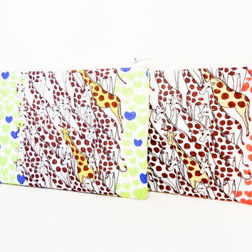 Giraffe Pouch, Heart Pouch, Fabric Pouch, Zipper Pouch Change Purse, Cute Pouch, Valentine's Day Gift, Gift for Her, Giraffes and Hearts