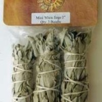 NewAge Smudges and Herbs MCWS3 California Mini Sage Wands, 4-Inch, Pack of 3, White