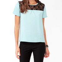Relaxed Lace Neckline Top