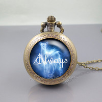 Harry Potter Always Pocket Watch Locket Necklace,Harry Potter Deer Always,vintage pendant Pocket Watch Locket Necklace