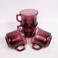 Vintage Amethyst Glass Mugs Fortecrisa Grid Textured Purple Cups Made in Mexico Set of 4