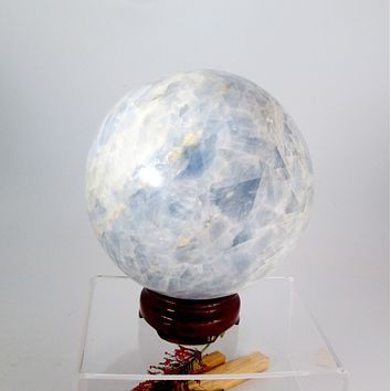 """""""Grounding & Protecting"""" Blue Calcite Sphere & Stand"""