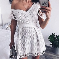 Sexy Ruffle Short Sleeve Dress Women Lace Mini Sweet Pink Dresses V-neck Party One Shoulder Dress