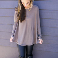 Olympic View Mocha Oversized Long Sleeve Thermal Knit Henley Top
