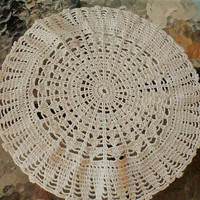 Vintage 1960s Hand Crocheted Round Beige-Taupe Colored 100 Percent Cotton Doilies/Beautifully Hand Crocheted Doilies/Laundered Ready 2 Use