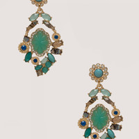 bebe Womens Crystal Statement Earrings Turquoise Gold