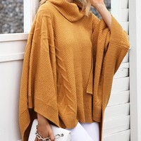 Yellow High Neck Batwing Sleeve Knit Sweater