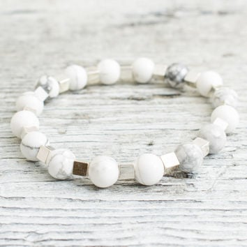 White howlite beaded stretchy bracelet with silver plated hematite cubes, made to order yoga bracelet, mens bracelet, womens bracelet