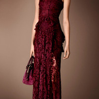 Floor-length Embroidered Lace Dress