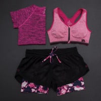 Fashion 3pcs Women's Sports Bras Yoga Fitness Racerback Vest Shorts Set 17