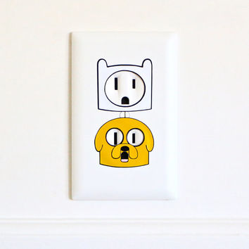 Finn & Jake - Adventure Time - Electric Outlet Wall Art Sticker Combo - Removable