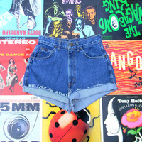High Waisted Denim Shorts, Vintage 80s Stone Washed Jean Shorts, Cut Off, Frayed, Rolled Up, Cuffed, Naturally Distressed CHIC SHORTS Size 8
