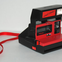 Vintage Cool Cam Polaroid Instant Camera Red And Black 600 Film 1970s