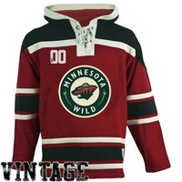 Men's Minnesota Wild Old Time Hockey Red Home Lace Heavyweight Hoodie