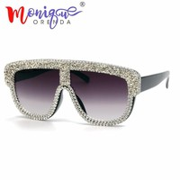 sunglasses women 2018 luxury brand designer small gravel rhinestone oversized men sun glasses vintage shades oculos feminino