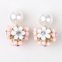 Pink Crystal Floral Faux Pearl Through And Through Earrings